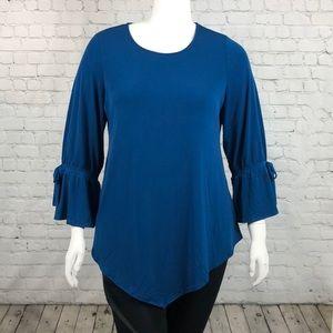 Alfani Teal Asymmetrical Long Sleeve Top Size 1X